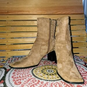SALE! Nine and Company Tan Suede Ankle Booties